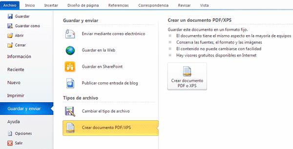 Como crear un pdf en Office 2010