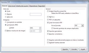 Configuración del PDF en LibreOffice