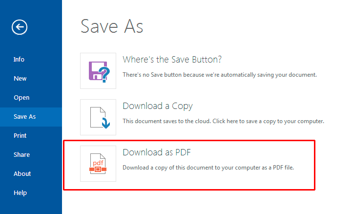 Download PDF in Office Online