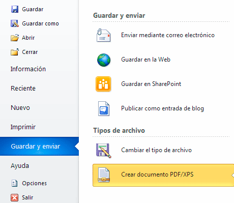 Guardar documento en Office 2010