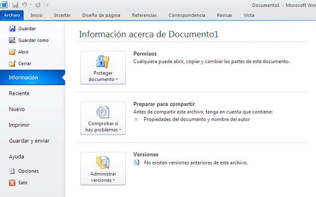Office 2010 Información de archivo