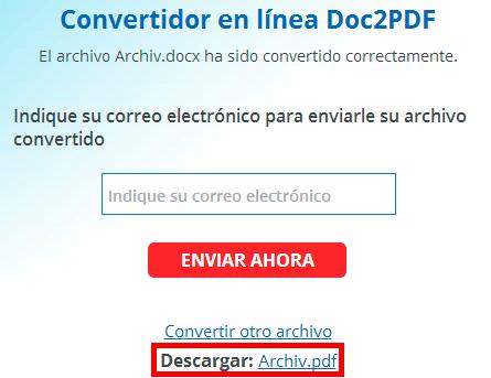 Descargar archivo convertido en Pdf