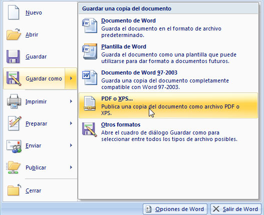 Guardar en PDF o XPS en Office 2007