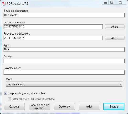 PDFCreator, conversor a PDF