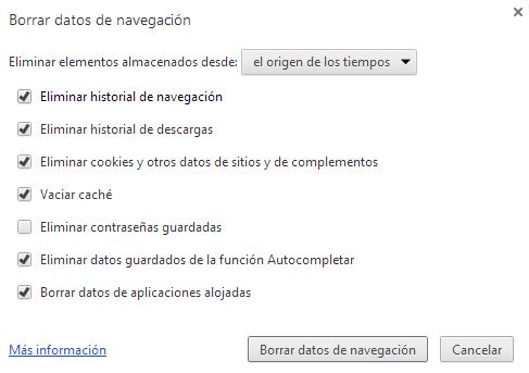 Borrar archivos temporales Chrome