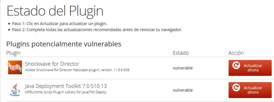 Actualizar plugins java firefox