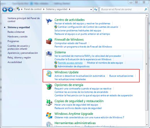 Panel de control > Windows Update
