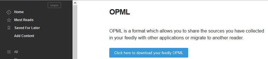 Exportar OPML de Feedly