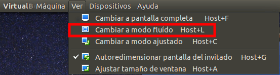 Modo fluido Virtualbox