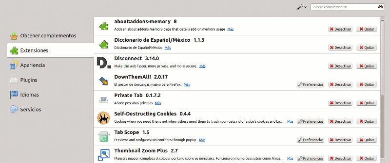 Menu de Extensiones de Firefox