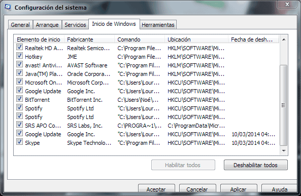 Programa al inicio de Windows 7