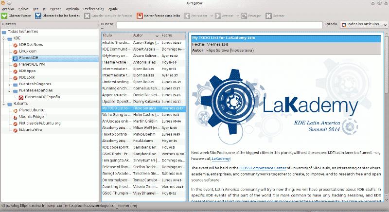 Akregator, lector de feeds en KDE