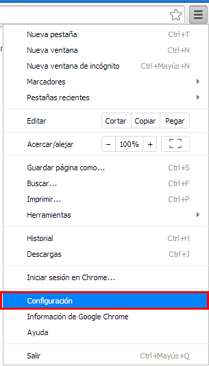 Menu de configuración de Google Chrome