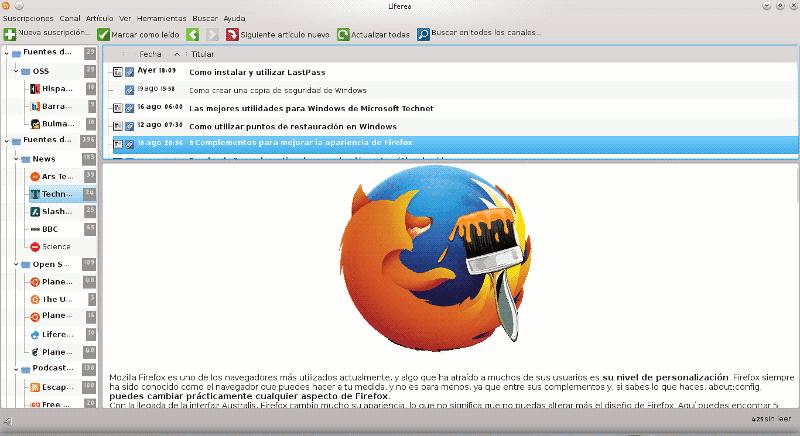 Liferea, lector de feeds en GNU/Linux