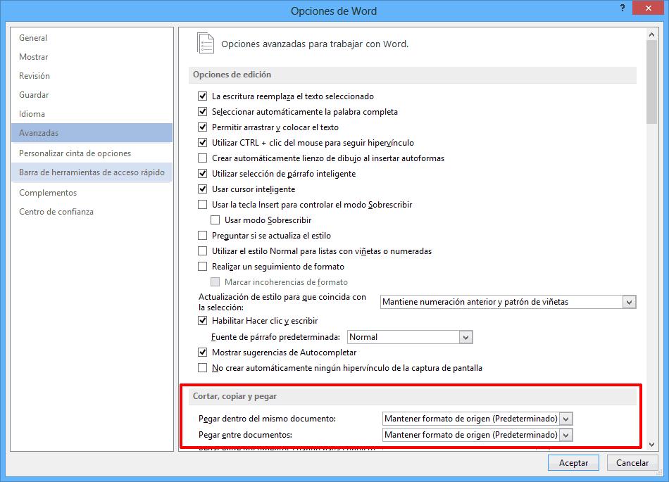 Opciones cortar,copiar, pegar Word