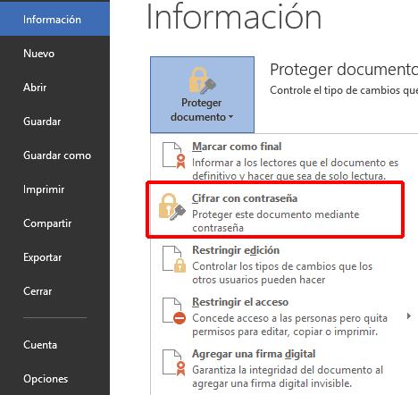 Office 2013 Cifrar con contraseña