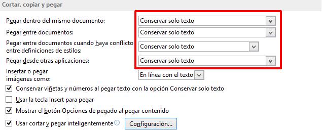 Conservar sólo texto al copiar y pegar en Word 2013