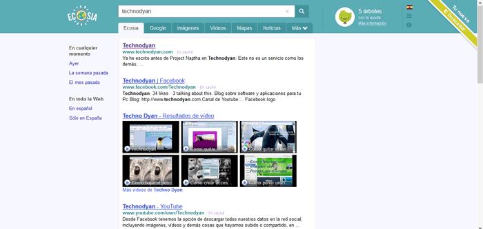Ecosia buscador resultados