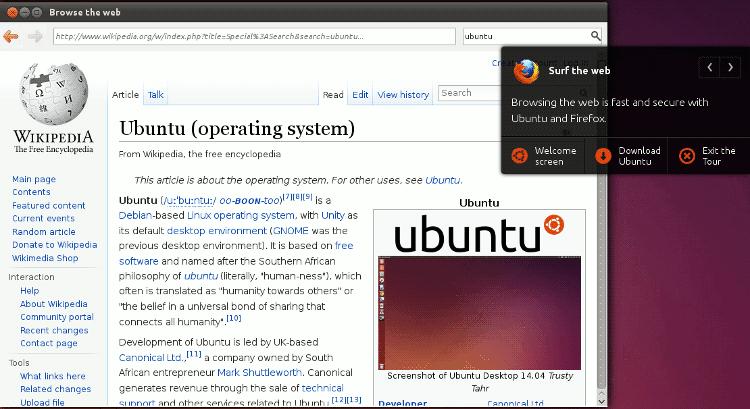 Ubuntu Online Tour Firefox