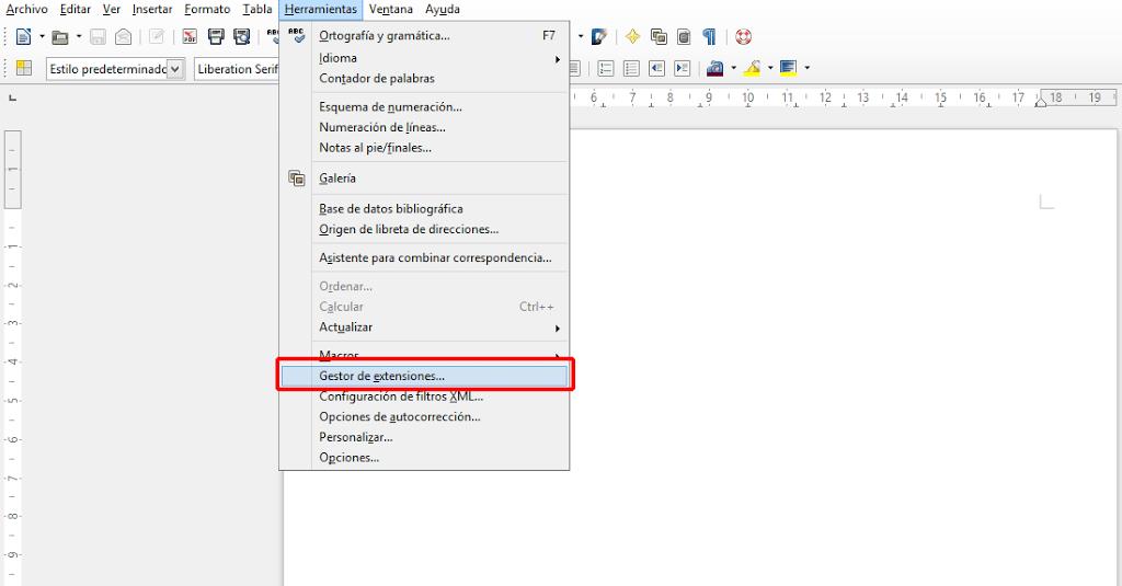 LibreOffice menú de herramientas