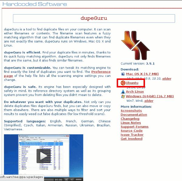 Descargar dupeGuru en Ubuntu