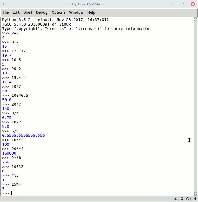 Operaciones matemáticas Python