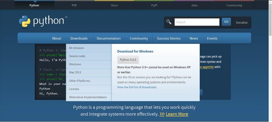 Descarga de Python en Windows