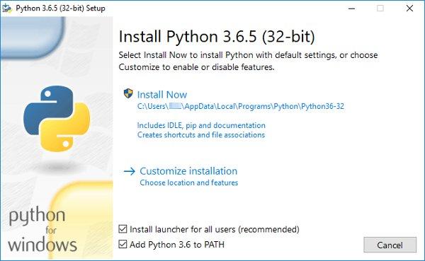 Instalador de Python en Windows